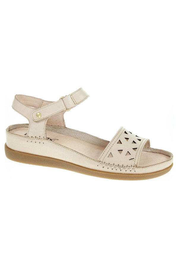 Sandály - W8K-0536 marfil módní dámské sandály, s.zip, klínek