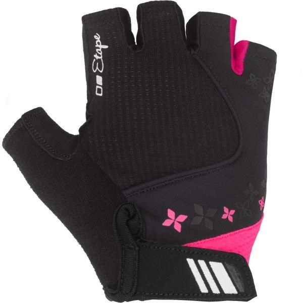 Černo-růžové dámské cyklistické rukavice Etape - velikost L
