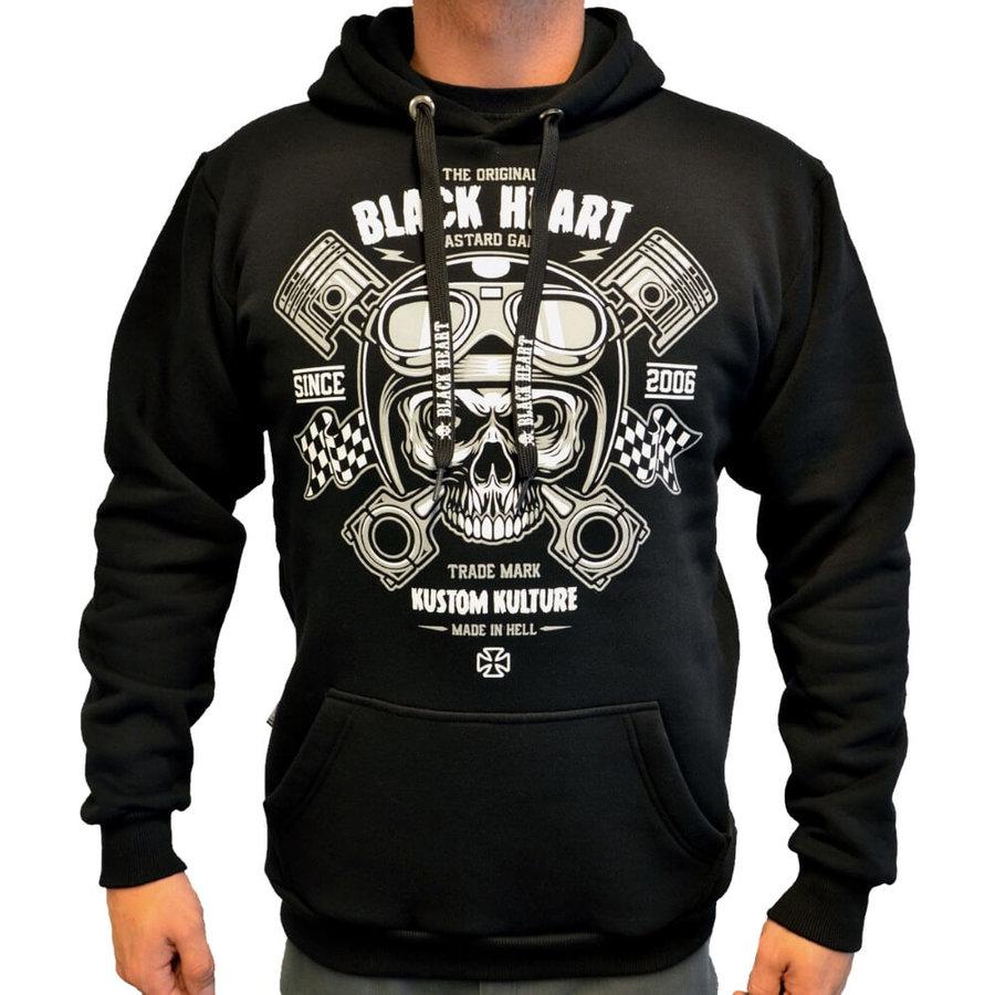 Černá motorkářská mikina Piston Skull Hood, Blackheart - velikost XL