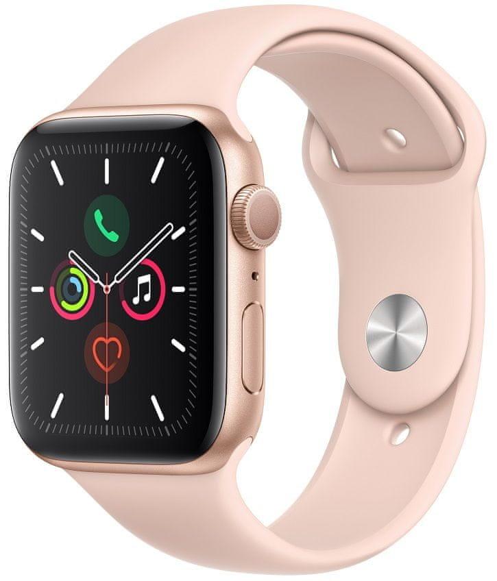 Růžové analogové chytré hodinky Watch Series 5 GPS, Apple