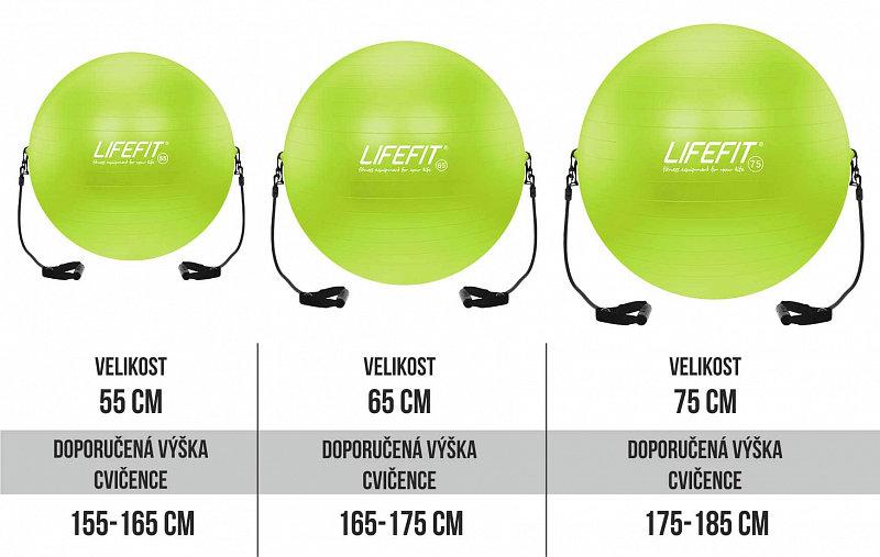 Zelený gymnastický míč s gumovými expandéry Lifefit - průměr 55  cm