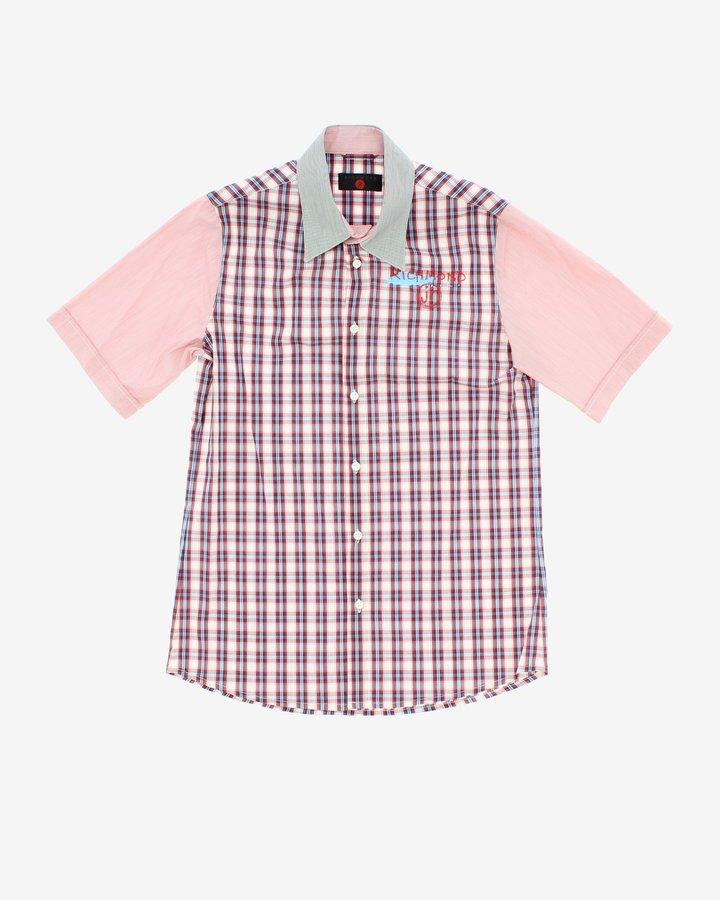 Modro-růžová chlapecká košile s krátkým rukávem John Richmond