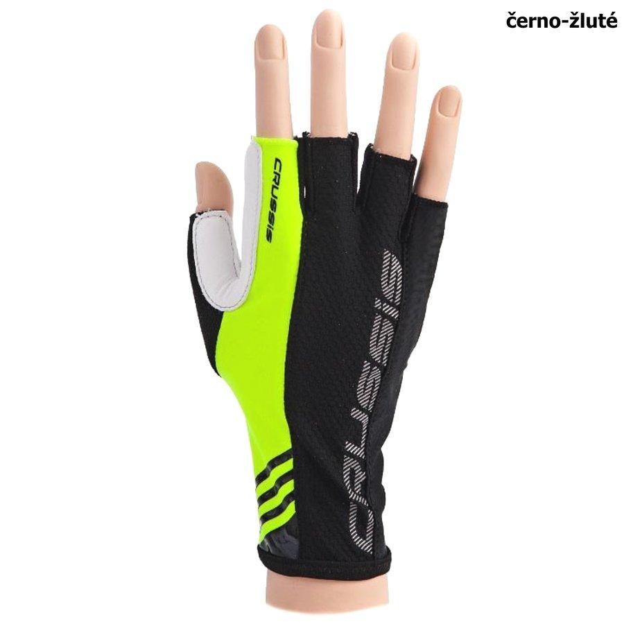 Černo-žluté cyklistické rukavice Crussis