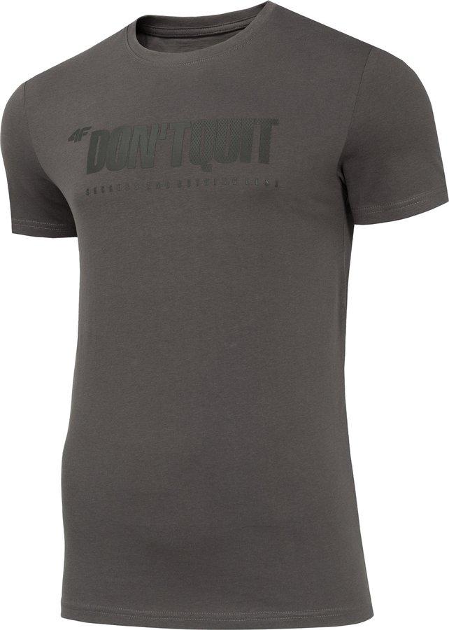 Šedé pánské tričko s krátkým rukávem 4F - velikost M