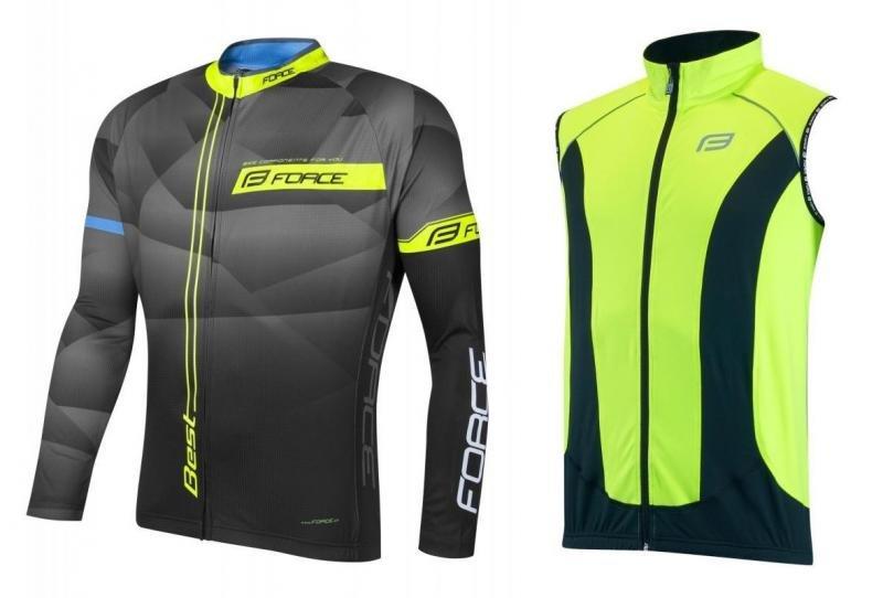 Černo-žlutý pánský cyklistický komplet Force dres a vesta - velikost M
