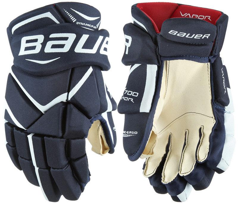 """Bílo-červené hokejové rukavice - junior Vapor X700, Bauer - velikost 12"""""""