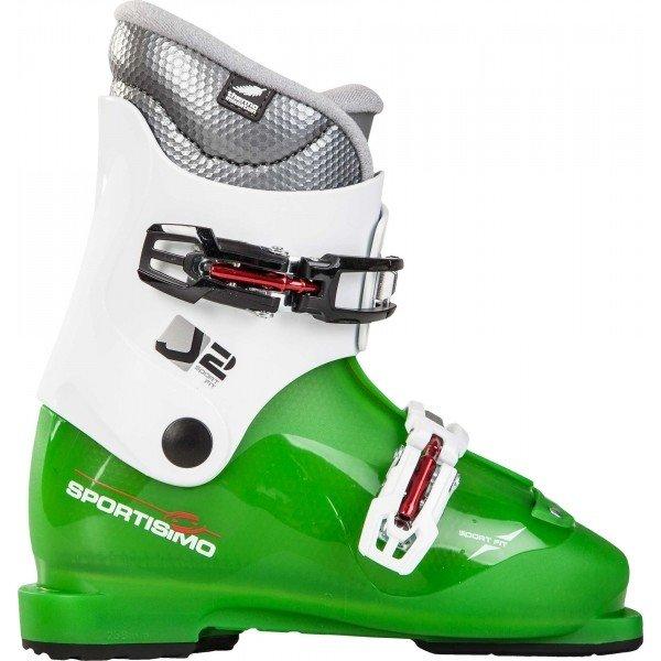 Bílo-zelené dětské lyžařské boty Alpina