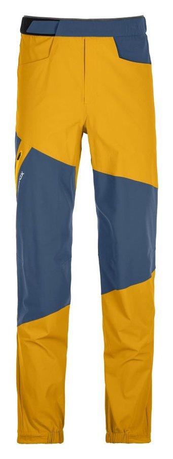 Modro-žluté softshellové pánské turistické kalhoty Ortovox