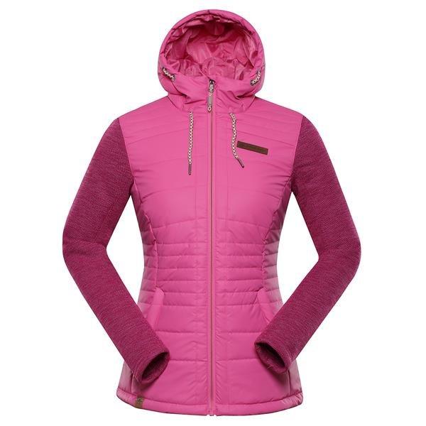 Růžová dámská bunda s kapucí Alpine Pro - velikost M