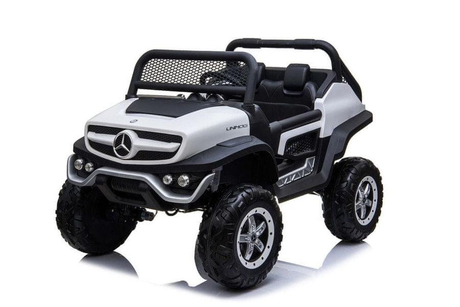 Bílo-černé dětské elektrické autíčko Mercedes Unimog, Beneo