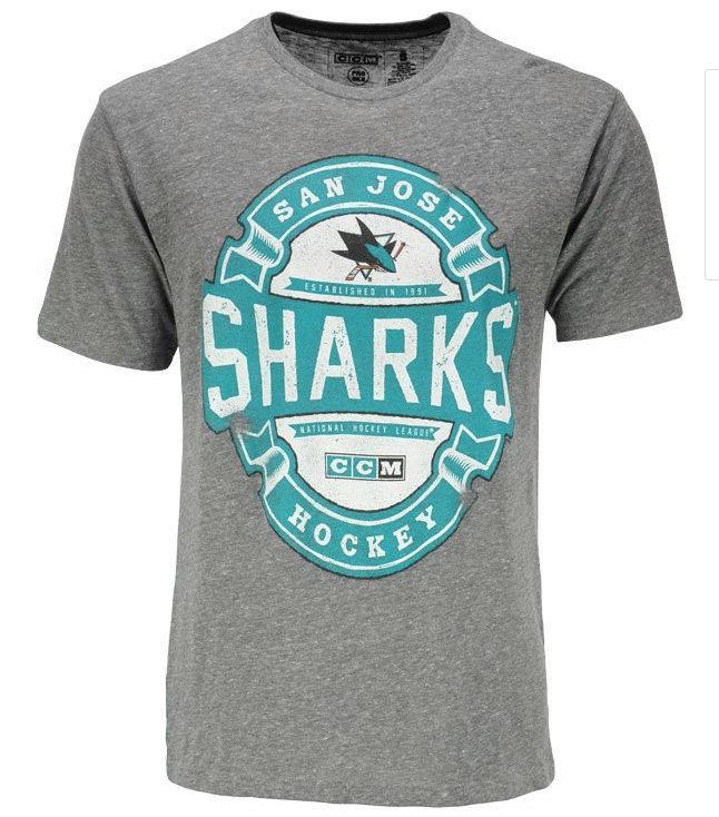 """Šedé pánské tričko s krátkým rukávem """"San Jose Sharks"""", CCM - velikost XXL"""