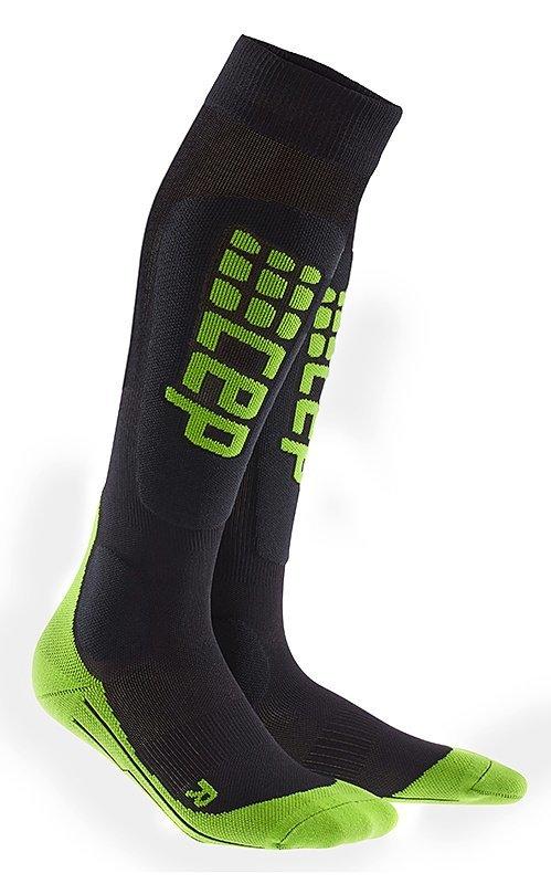 Černo-zelené lyžařské ponožky CEP - univerzální velikost