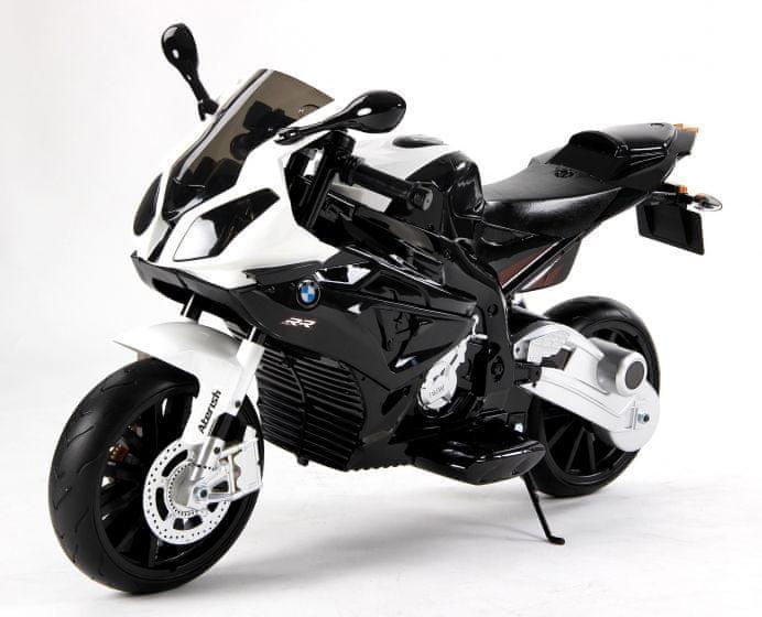 Bílo-černá dětská elektrická motorka BMW S 1000, Beneo