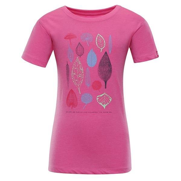 Růžové dívčí turistické tričko s krátkým rukávem Alpine Pro - velikost 164-170