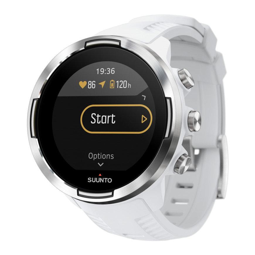 Bílé chytré sportovní digitální hodinky 9 Baro, Suunto