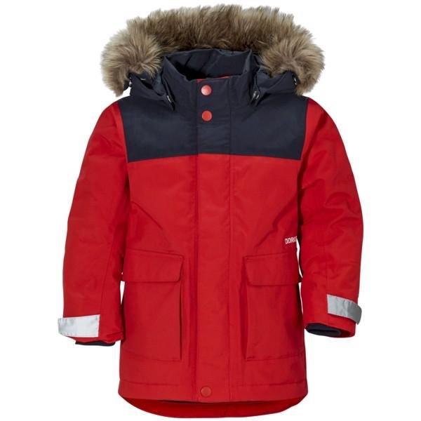 Červená dětská zimní bunda s kapucí Didriksons1913 - velikost 80