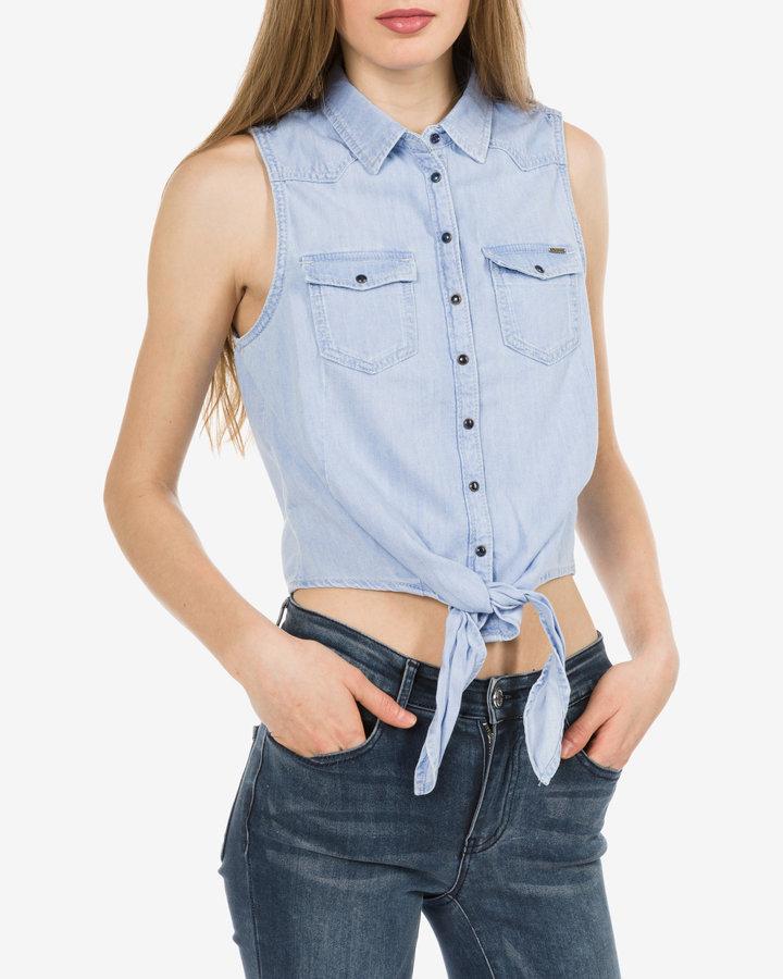 Modrá dámská košile bez rukávů Pepe Jeans - velikost L