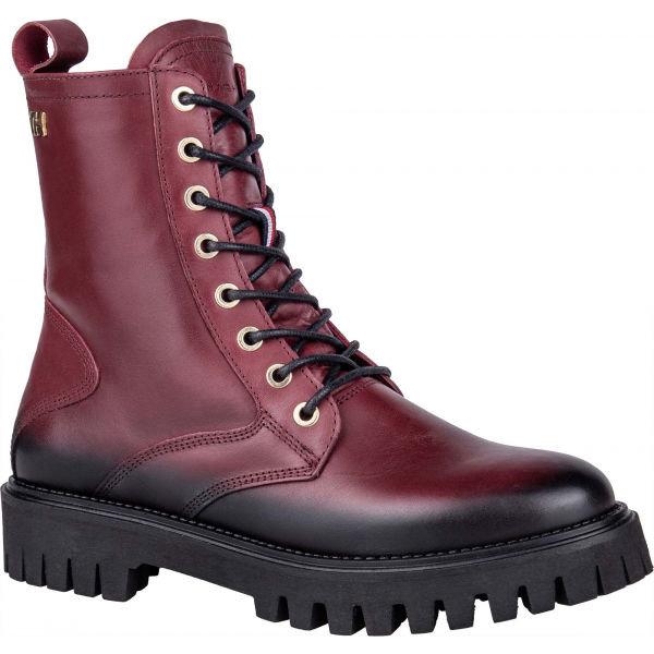 Červené dámské zimní boty Tommy Hilfiger - velikost 39 EU