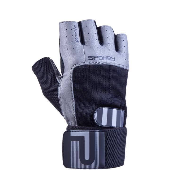 Černo-šedé pánské fitness rukavice Spokey