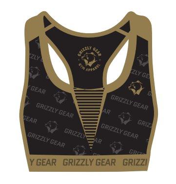 Černo-zlatá sportovní dámská podprsenka Grizzly Gear