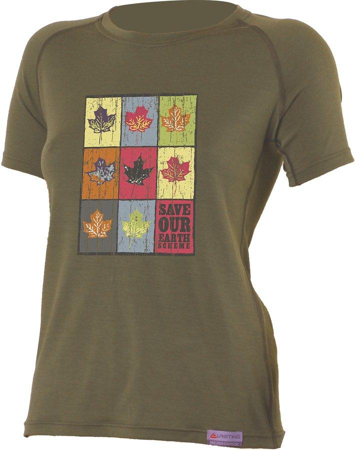 Zelené dámské tričko s krátkým rukávem Lasting - velikost XL