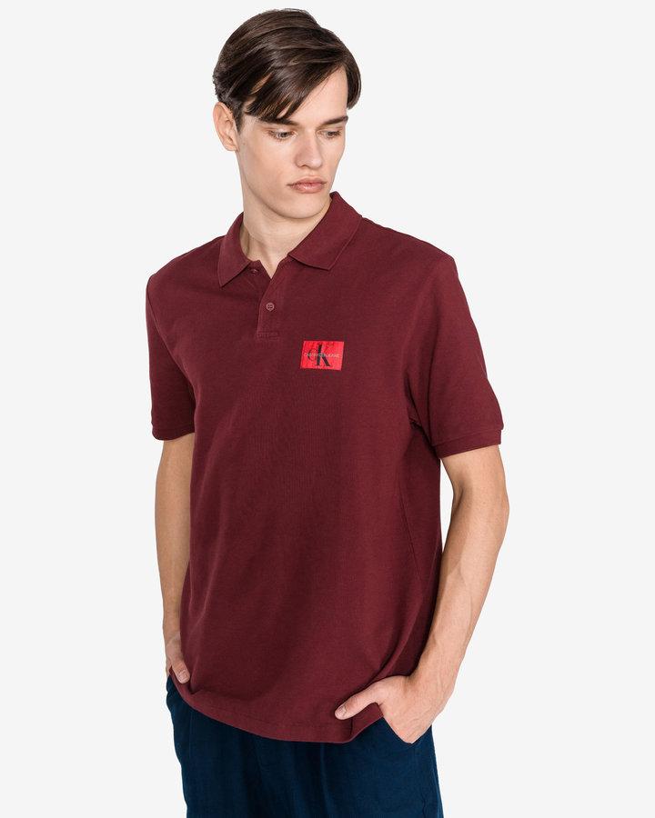 Červená pánská polokošile s krátkým rukávem Calvin Klein