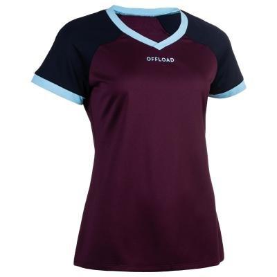 Fialový dámský ragbyový dres R500, Offload