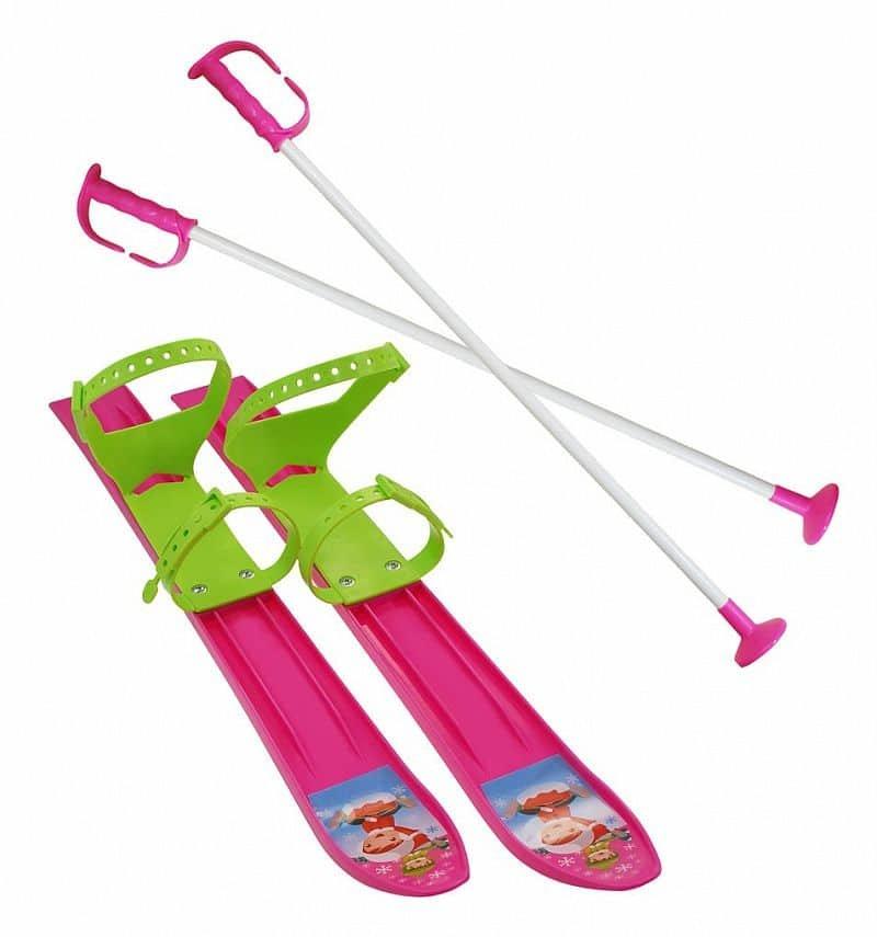 Růžová dětská sada na sjezdové lyžování Sulov - délka 60 cm