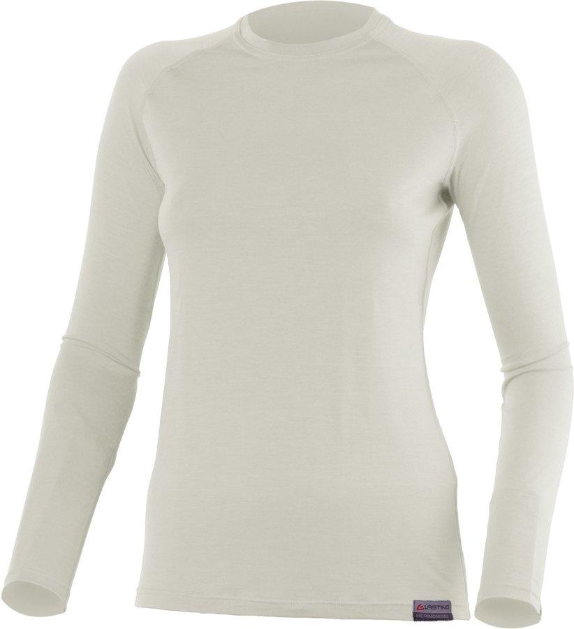 Bílé dámské tričko s dlouhým rukávem Lasting - velikost M