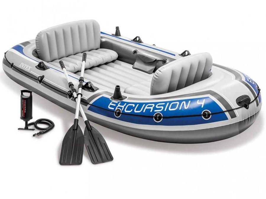 Šedý nafukovací člun s nafukovacím dnem pro 3 osoby Excursion 4, INTEX