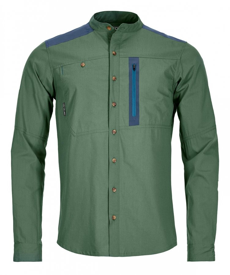 Zelená pánská turistická košile s dlouhým rukávem Ortovox