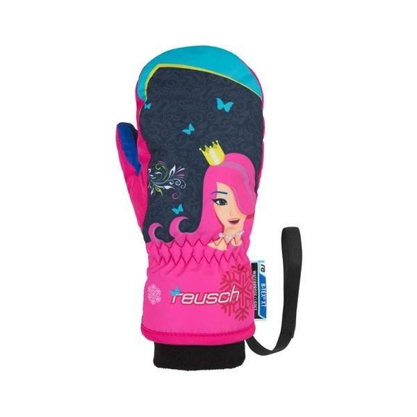 Černo-růžové dívčí lyžařské rukavice Reusch