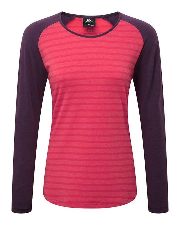 Fialovo-růžové dámské turistické tričko s dlouhým rukávem Mountain Equipment