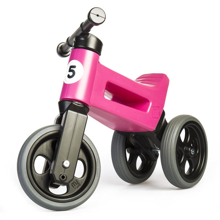 Černo-růžové dětské odrážedlo Funny Wheels