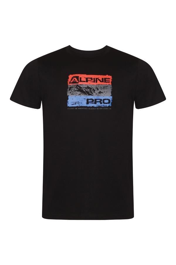 Černé pánské turistické tričko s krátkým rukávem Alpine Pro