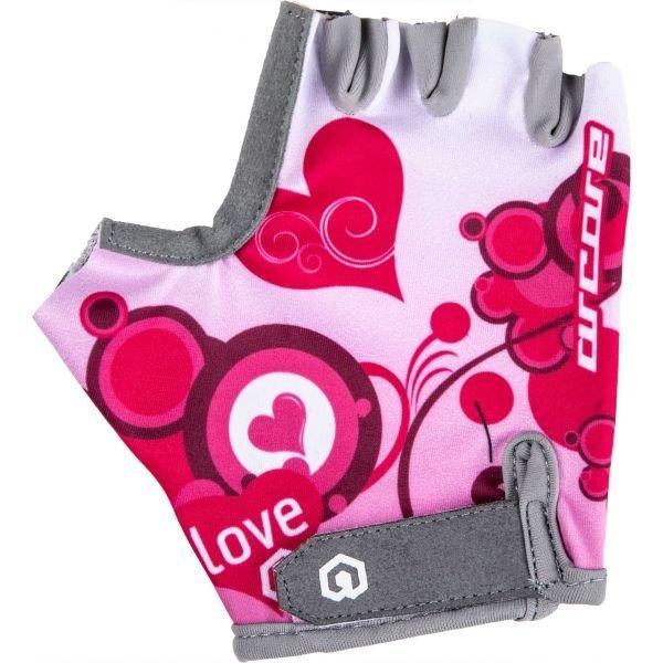Bílo-růžové dívčí cyklistické rukavice Arcore