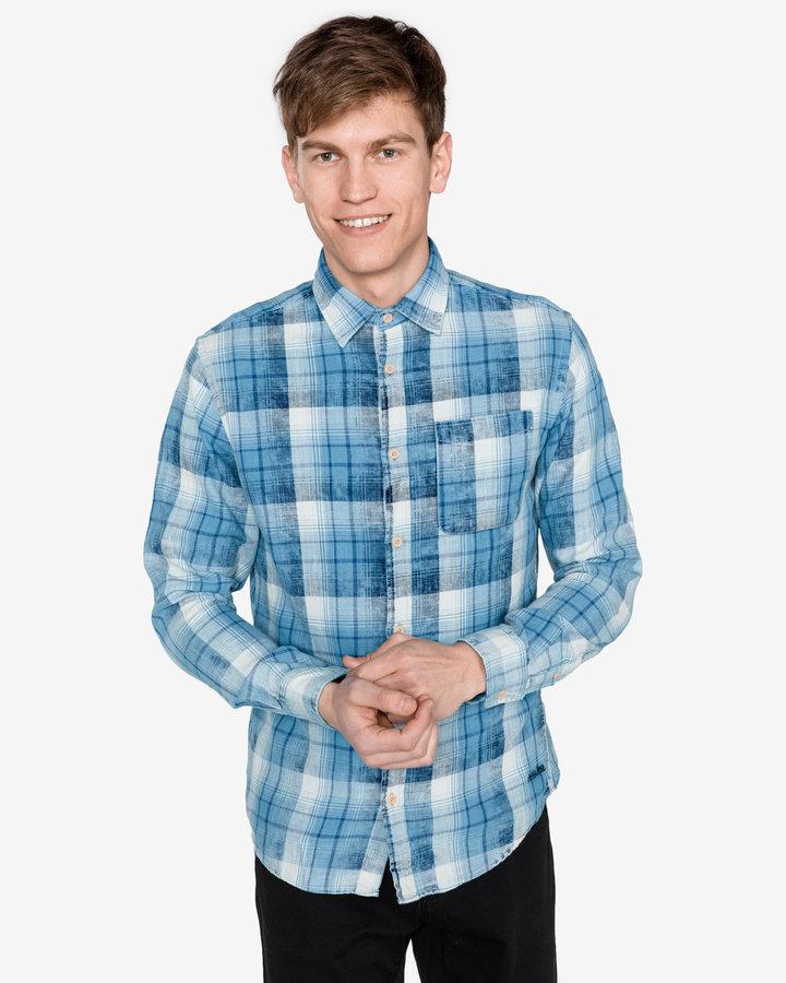Modrá pánská košile s dlouhým rukávem Jack & Jones