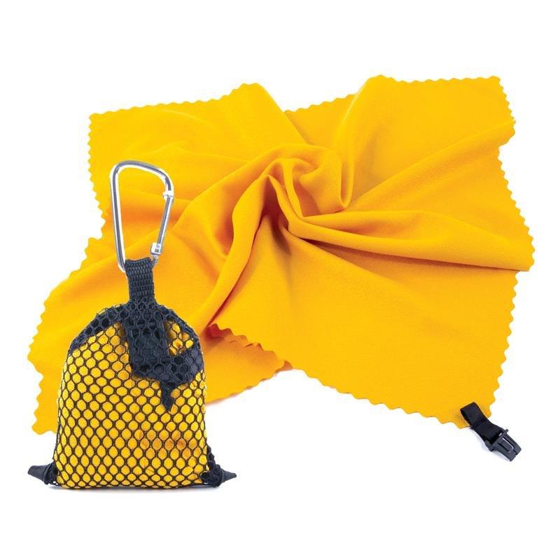 Ručník - SPOKEY - NEMO Rychleschnoucí ručník 40 x 40 cm, žlutý s karabinou