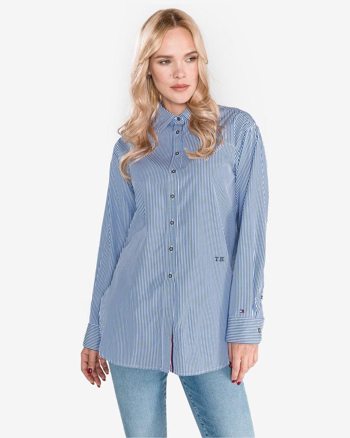 Modrá dámská košile s dlouhým rukávem Tommy Hilfiger