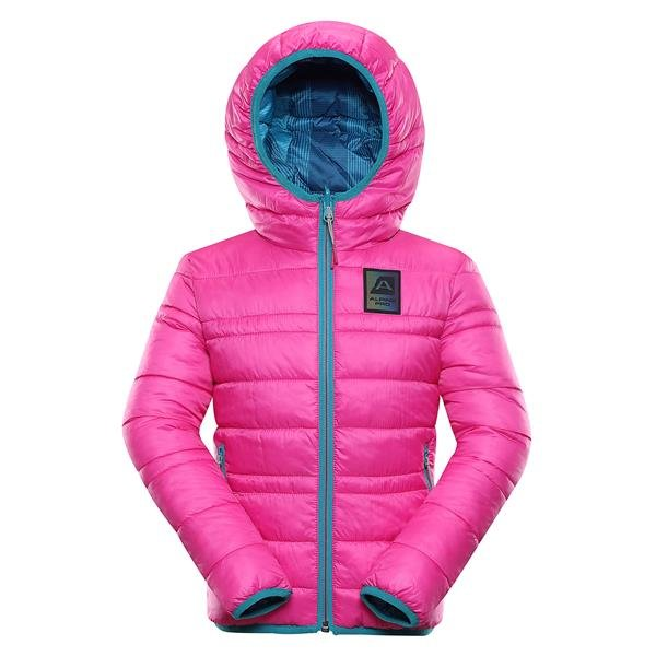 Růžová zimní dívčí bunda s kapucí Alpine Pro - velikost 128-134