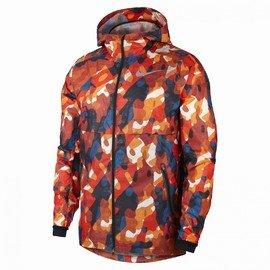 Oranžová větruvzdorná zimní voděodolná reflexní pánská bunda s kapucí Nike