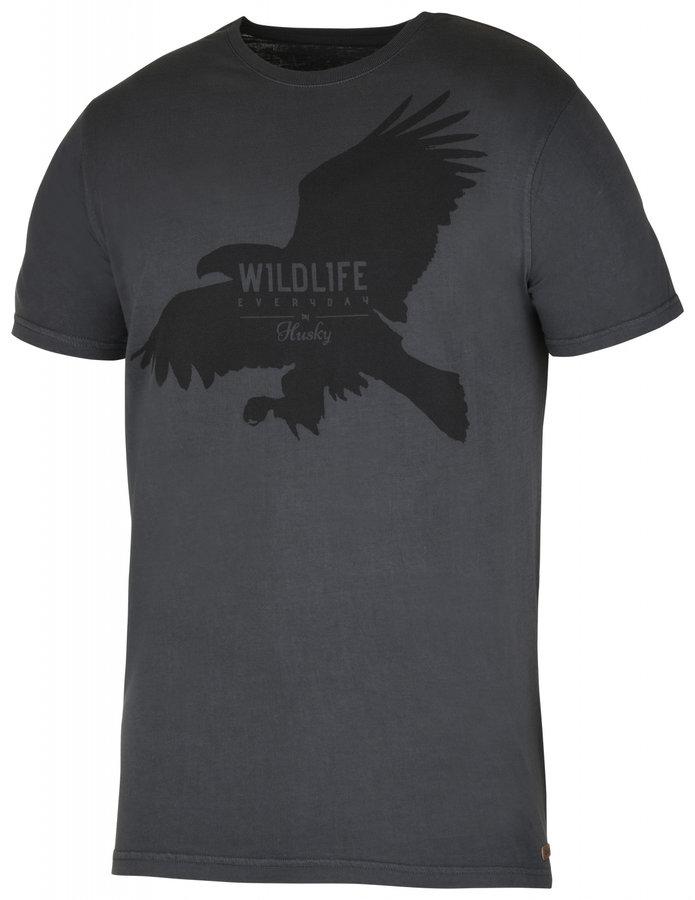 Šedé pánské tričko s krátkým rukávem Husky - velikost M