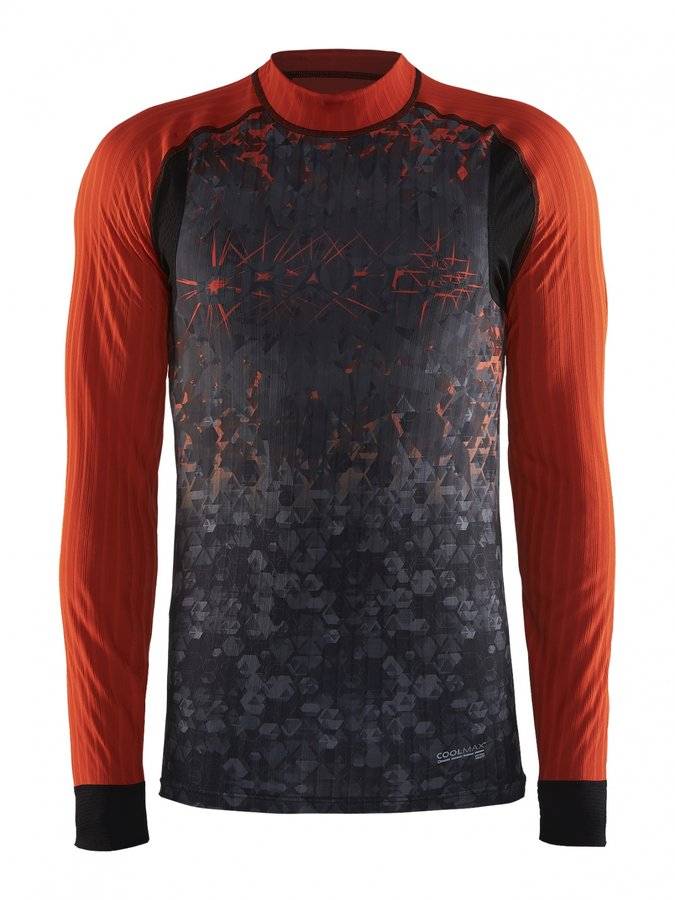 Oranžové pánské funkční tričko s dlouhým rukávem Craft - velikost L