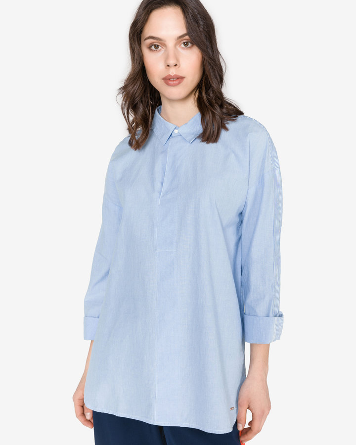 Modrá dámská košile s dlouhým rukávem Tom Tailor - velikost M