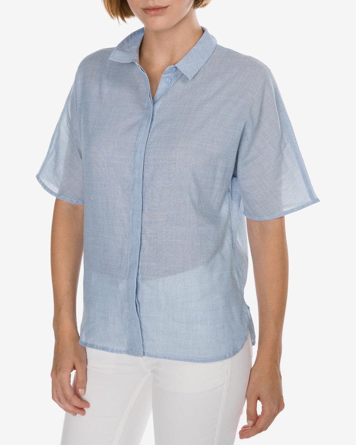 Modrá dámská košile s krátkým rukávem Selected - velikost 34