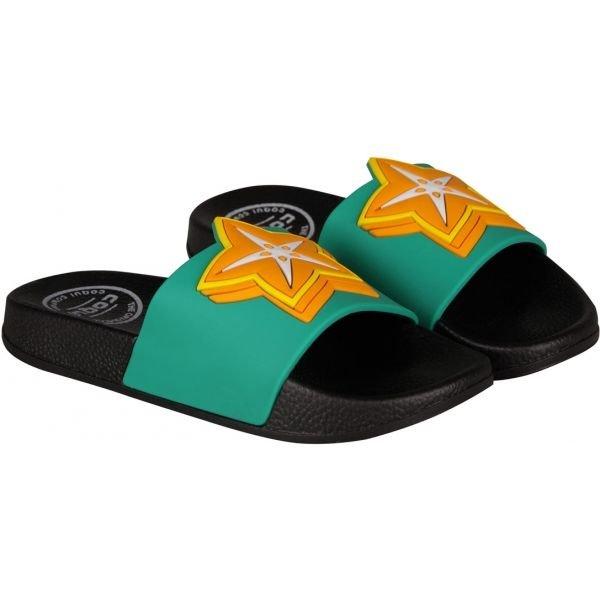 Černo-zelené dětské pantofle Coqui