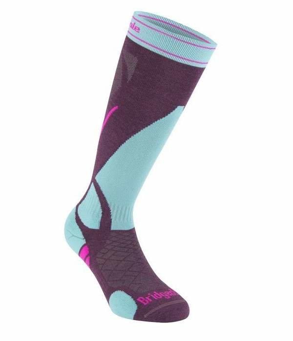 Fialovo-modré dámské lyžařské ponožky Bridgedale