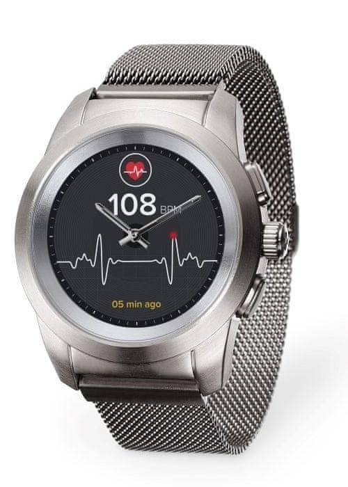 Stříbrné analogové chytré hodinky ZeTime Elite, MyKronoz