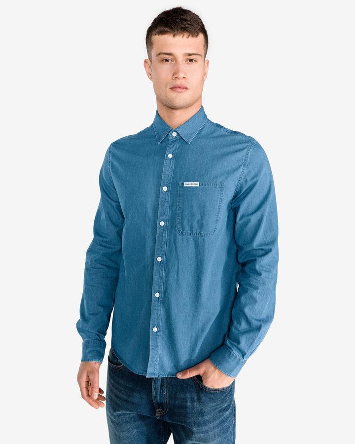 Modrá pánská košile s dlouhým rukávem Calvin Klein