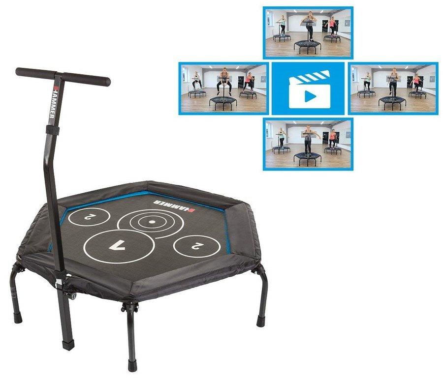 Šestiúhelníkový fitness trampolína s madlem Hammer - průměr 130 cm